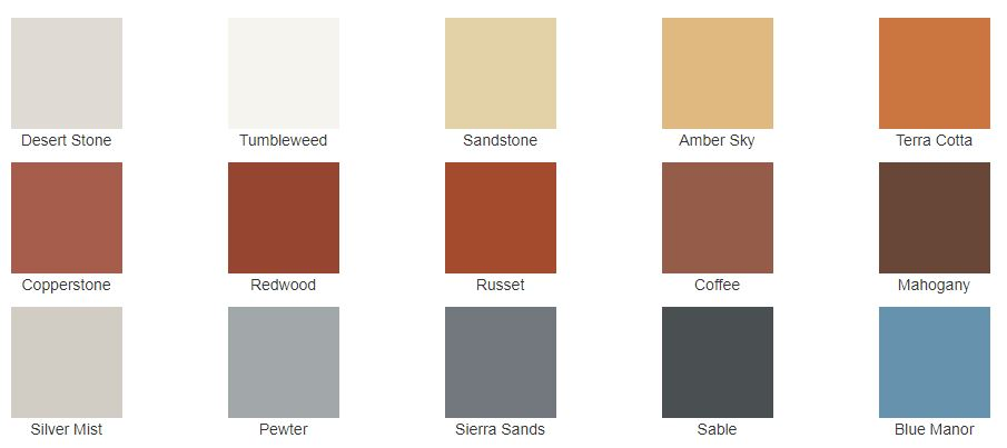 Acme TC Cladding colors that are available through Masonry Resource Company.